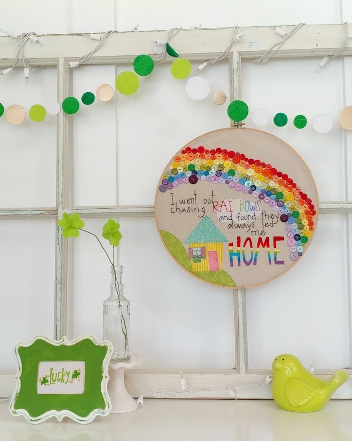 rainbow decoration made with buttons, st patricks day crafts, quote written over a child's drawing of a house