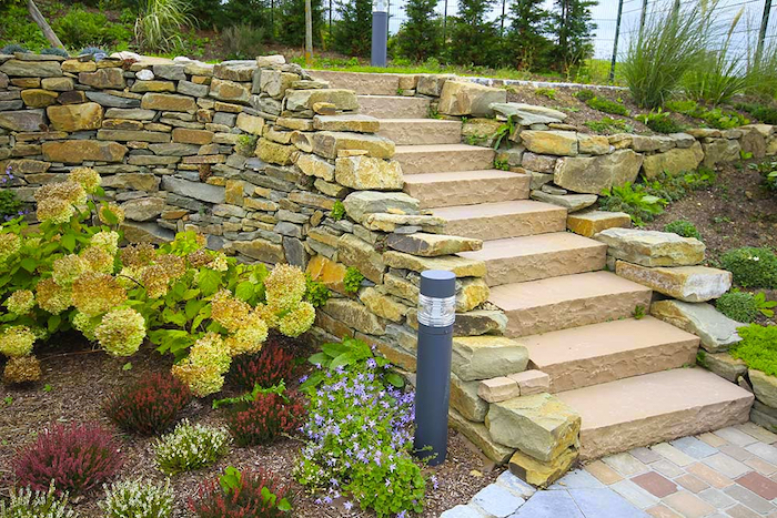 small garden staircase, made with stones, small gardens on both sides, natural stone and reclaimed setts