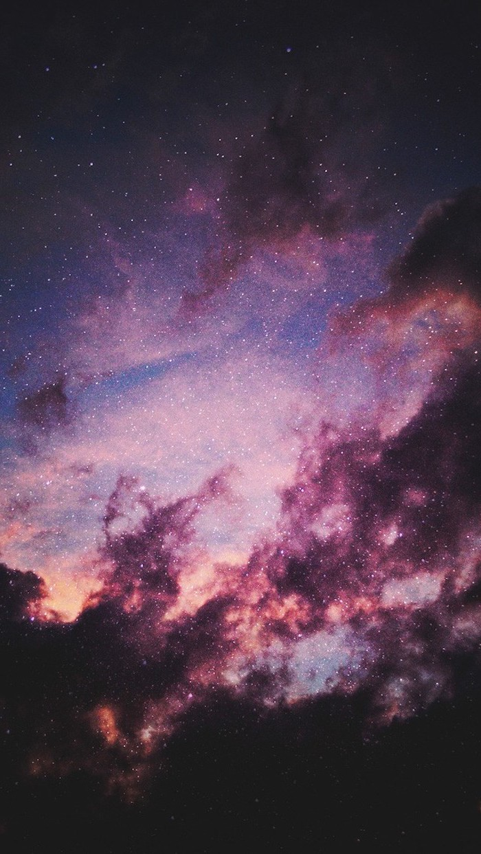 star filled sky outer space wallpaper galaxy clouds in black orange purple pink