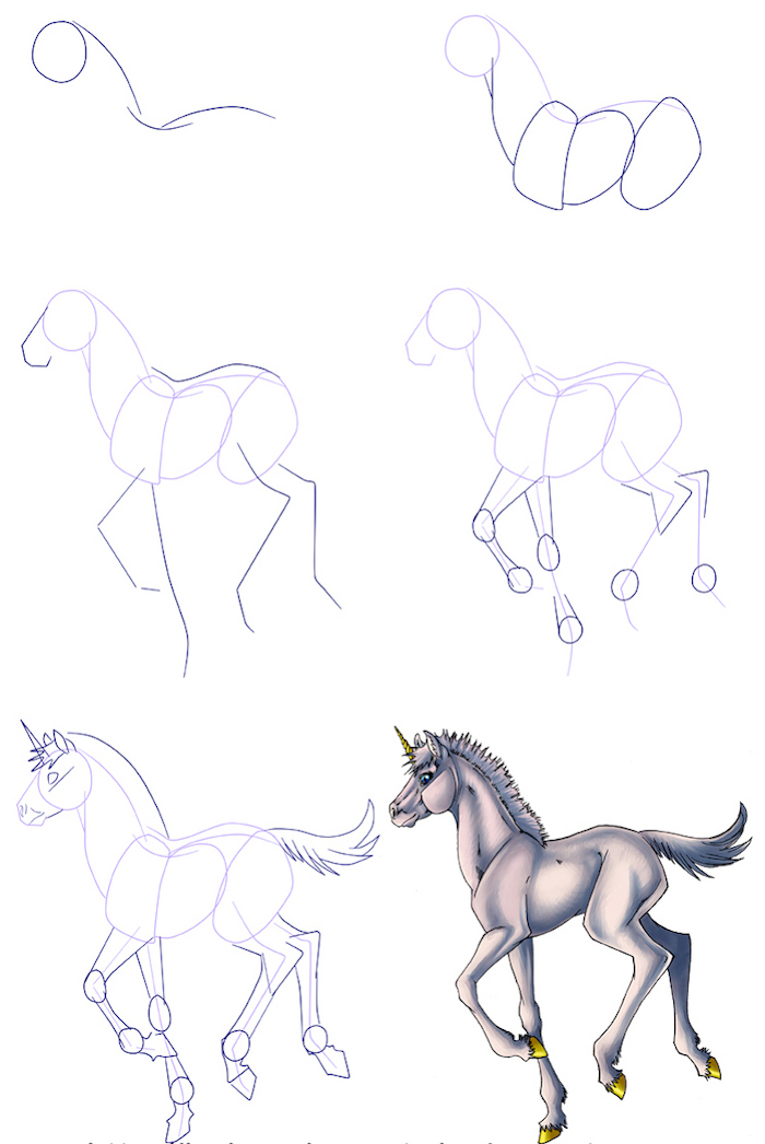 drawing tutorial in six steps, how to draw a unicorn head, step by step diy tutorial, drawn on white background
