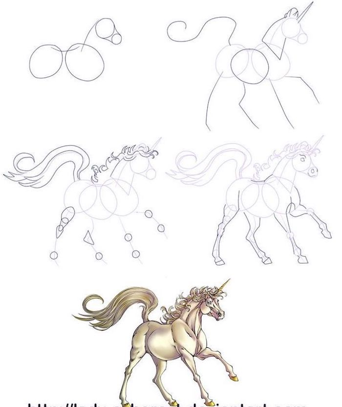 five step drawing tutorial, how to draw a unicorn with wings, step by step diy tutorial, drawn on white background
