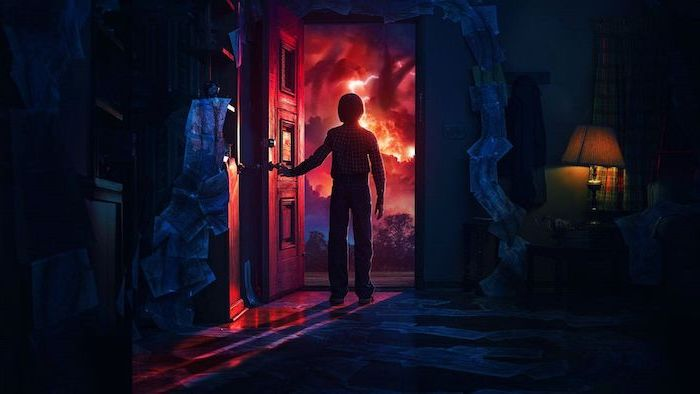 will byers in the upside down, opening the door, mind flayer in the sky, stranger things wallpaper iphone x