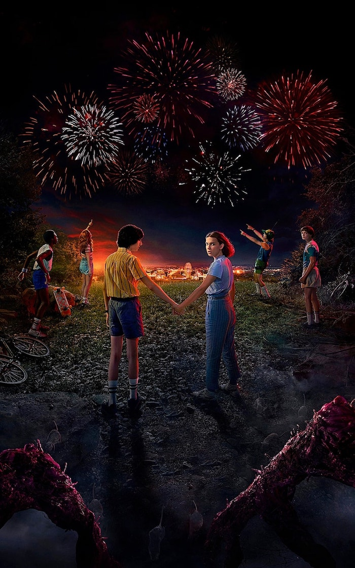 mike and eleven holding hands, aesthetic stranger things wallpaper, dustin lucas max and will watching the fireworks