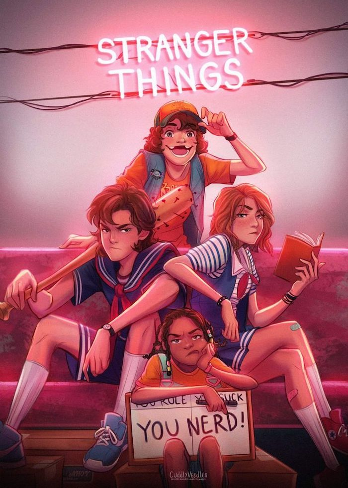 cartoon image of the scoops troop, dustin erica steve and robin, stranger things phone wallpaper, title logo neon sign