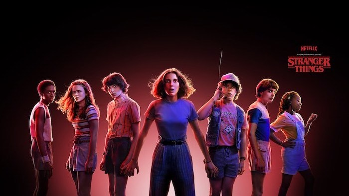 lucas max and mike, eleven dustin will and erica, stranger things wallpaper iphone x, dark red and black background
