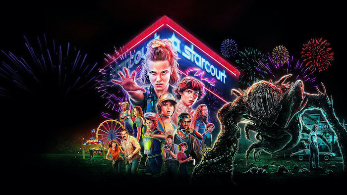 cartoon image of all the characters, stranger things wallpaper iphone, starcourt mall in the background