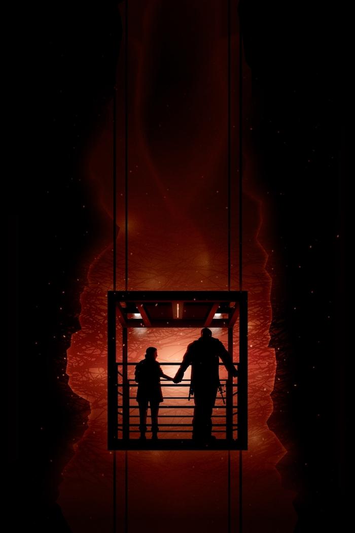 stranger things 3 wallpaper, jim hopper and eleven holding hands, standing at the gate, dark aesthetic
