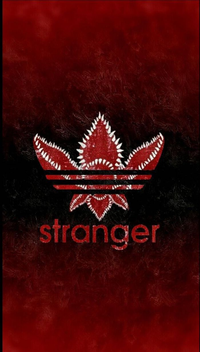 adidas logo as a demogorgon, stranger things phone wallpaper, stranger written underneath it, black and red background