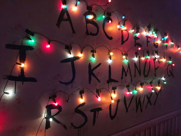 joyce byers alphabet wall, stranger things wallpaper iphone x, alphabet written on the wall, surrounded by colorful christmas lights