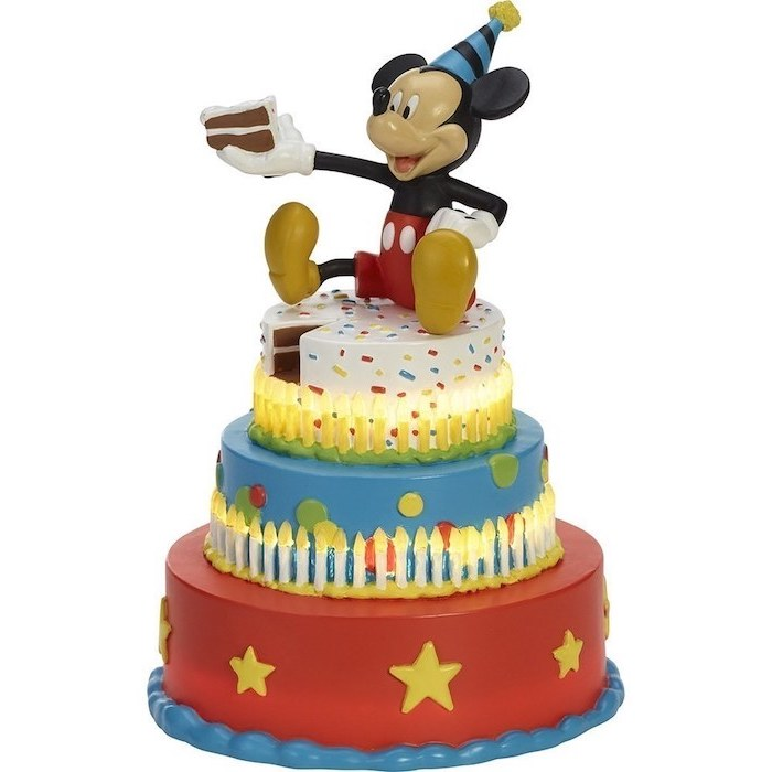 three tier cake, covered with red blue and white fondant, mickey mouse cake pops, mickey cake topper