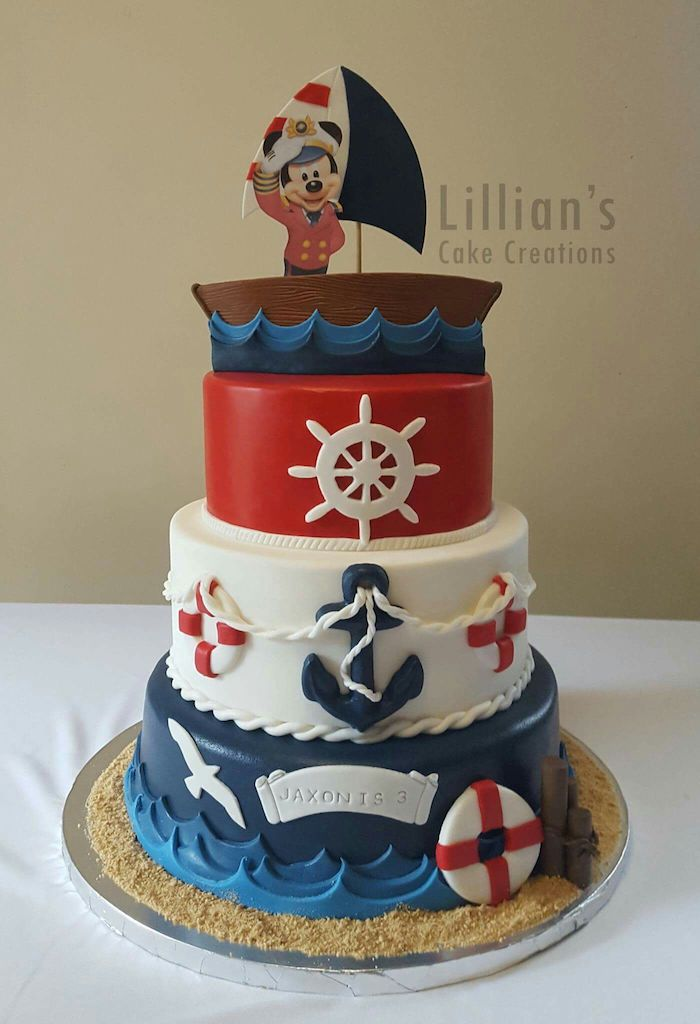 nautical themed cake, mickey cake, three tier cake, covered with blue white and red fondant, mickey cake topper