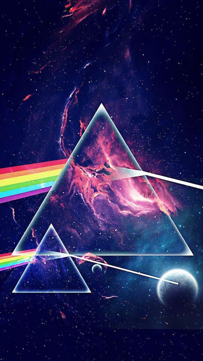 two triangles and rainbows in the middle, space desktop backgrounds, dark aesthetic galaxy in black and pink