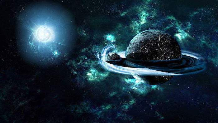 two planets in space, purple galaxy background, dark aesthetic, galaxy in black and turquoise