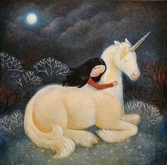 painting of a girl with black hear, wearing red sweater, hugging a white unicorn, how to draw a unicorn with wings