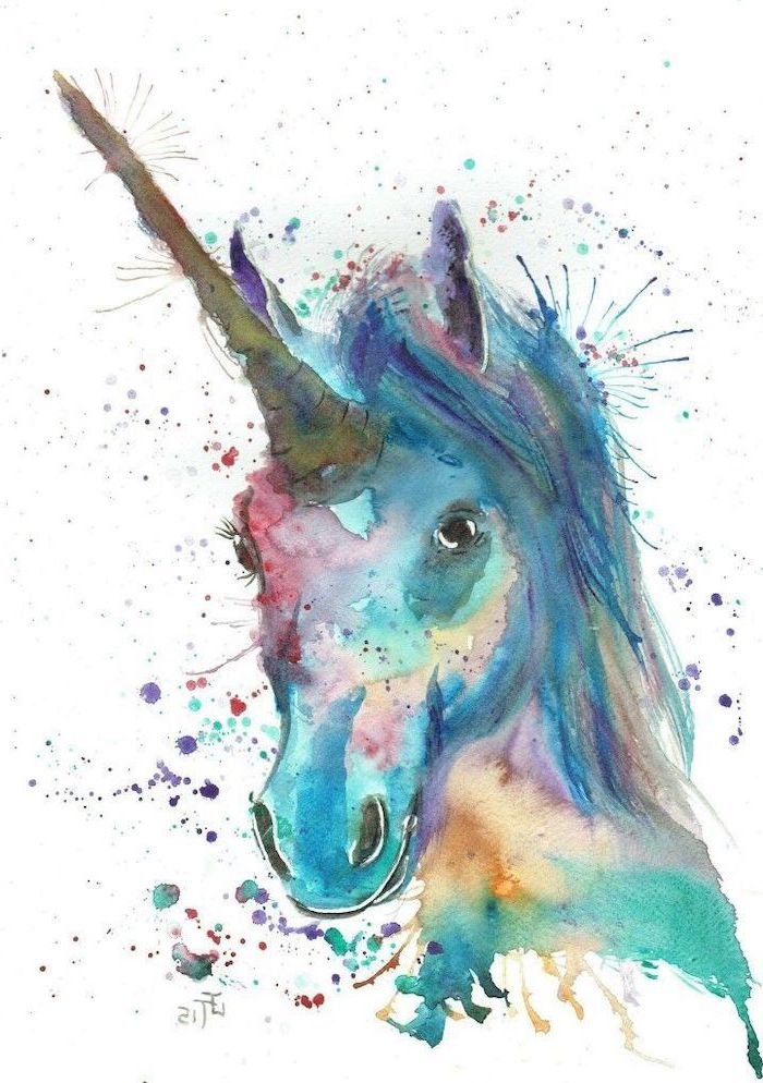 simple unicorn drawing, watercolor painting of a unicorn with long horn, painted on white background