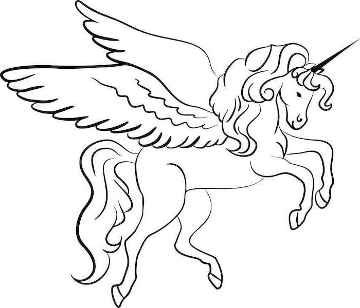 black and white pencil sketch of unicorn with wings, simple unicorn drawing, drawn on white background
