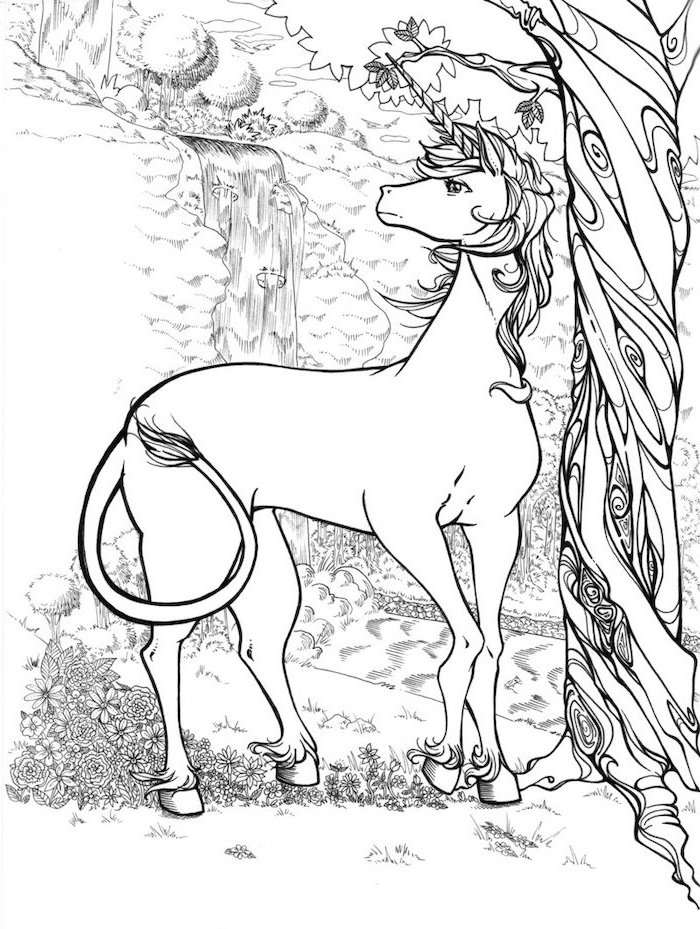 black and white pencil sketch, unicorn standing next to a tree, simple unicorn drawing, white background