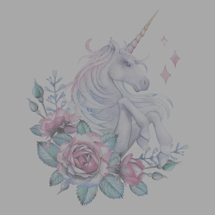pencil drawing of unicorn, surrounded by red roses, drawn on white background, simple unicorn drawing