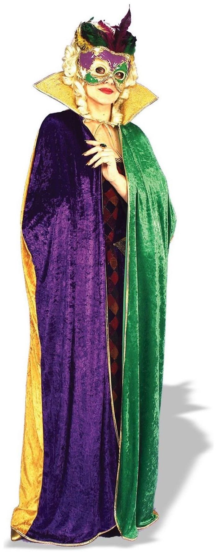 woman wearing purple green and gold velvet cape, mardi gras mask for men, purple gold and green mask