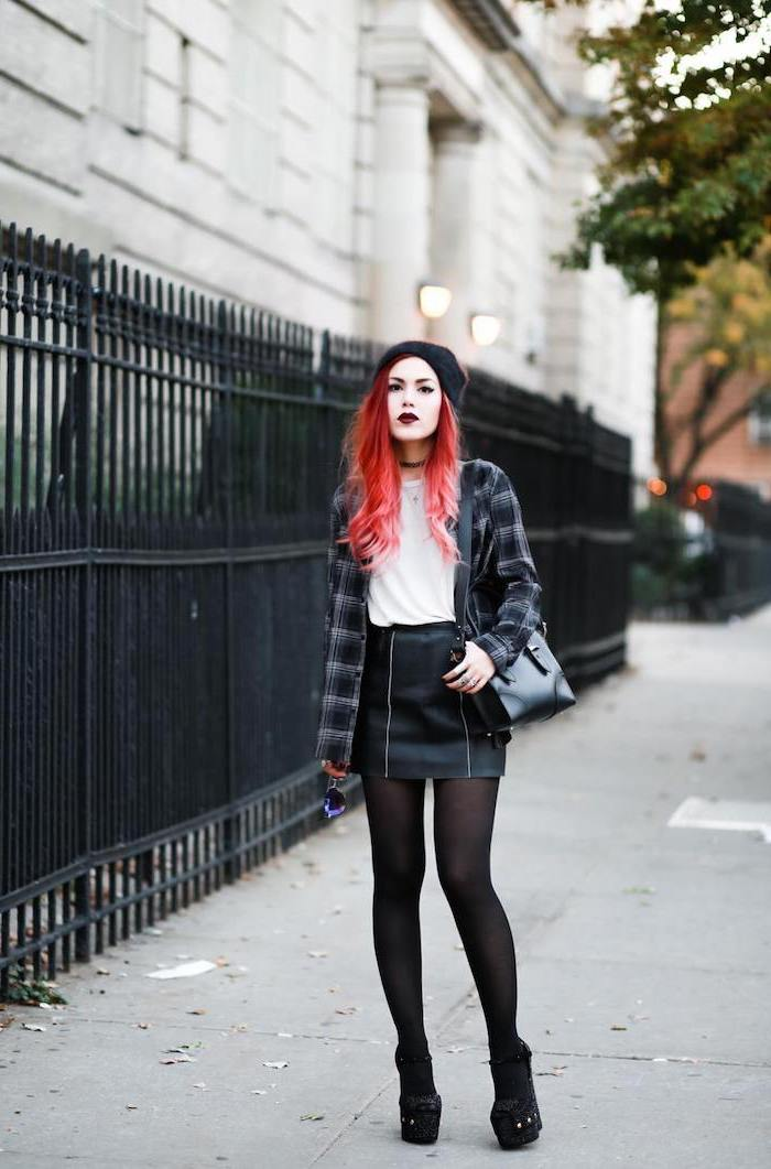 grunge style, cute outfits for school, black leather skirt, white t shirt and plaid shirt, worn by girl with red hair