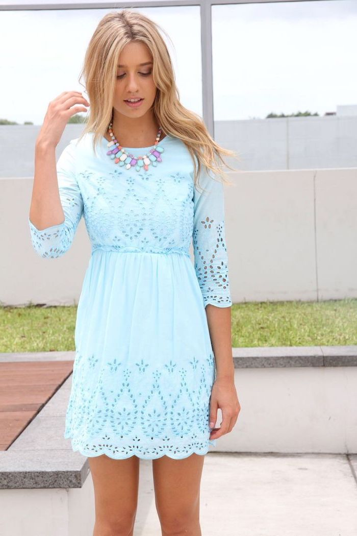 blonde woman with medium length hair, easter dresses for girls, wearing blue lace dress, colorful necklace