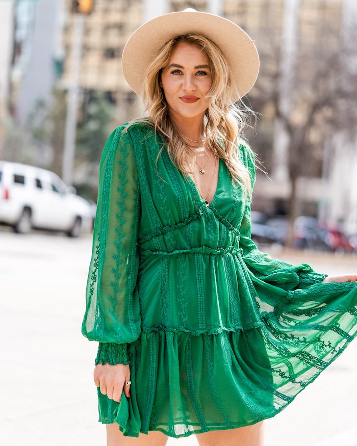 easter dresses for women, blonde woman with a hat on her head, wearing a green flowy dress
