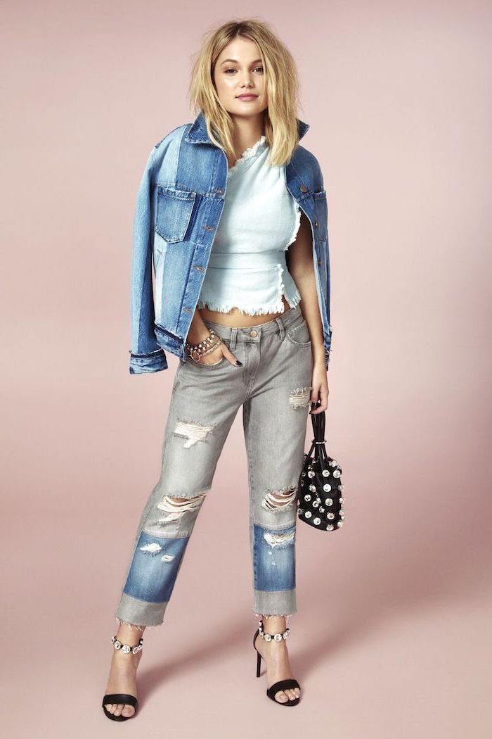 all denim outfit, cute fall outfits, mismatched jeans and denim jacket, white top underneath, black sandals and bag