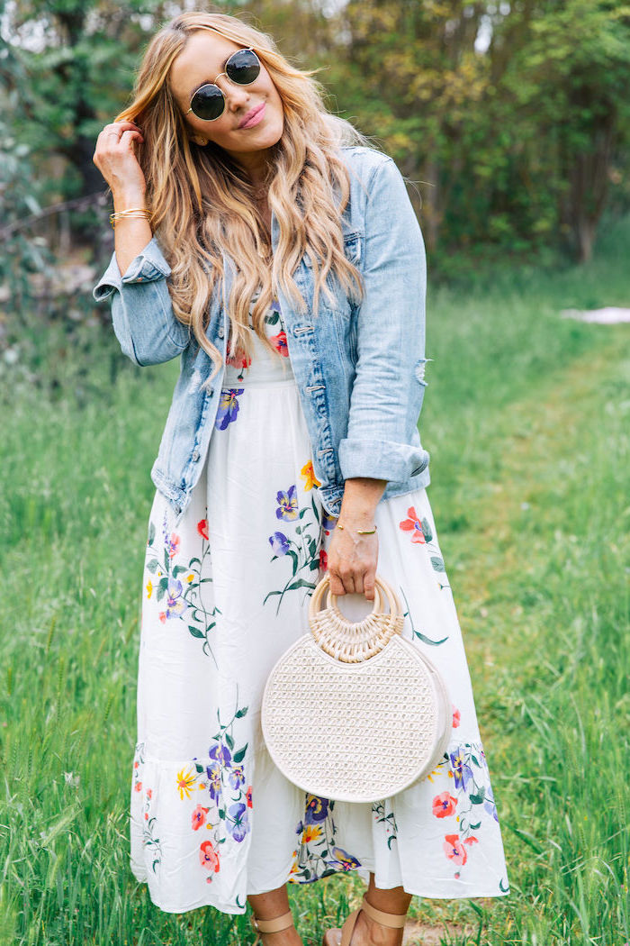 blonde woman wearing sunglasses, sundresses for women, wearing white dress with floral print, denim jacket on top