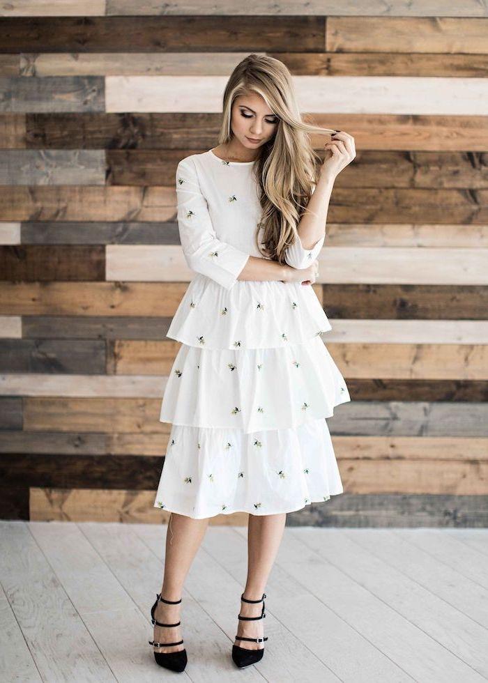 blonde woman wearing white dress, small flowers print on it, sundresses for women, black heels