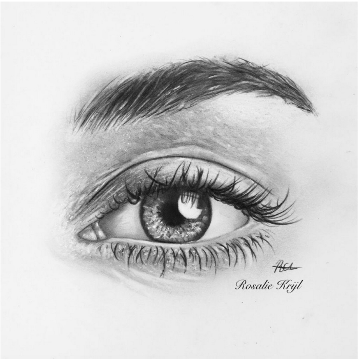 realistic drawing of an eye with thick eyebrow, black pencil sketch on white background, cartoon eyes drawing