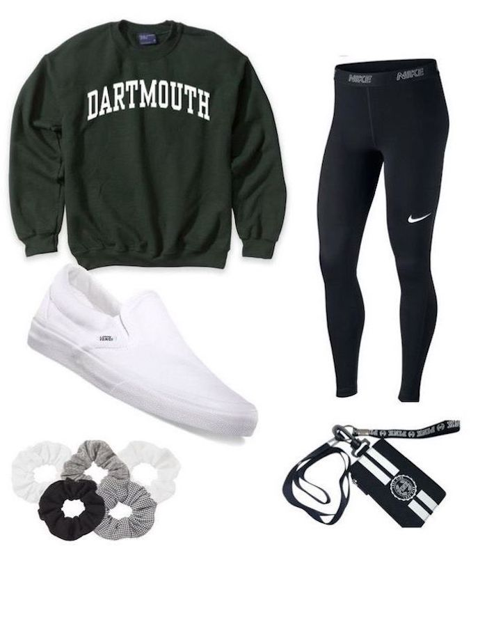 olive green dartmouth sweatshirt, black nike leggings, cute back to school outfits, white vans shoes