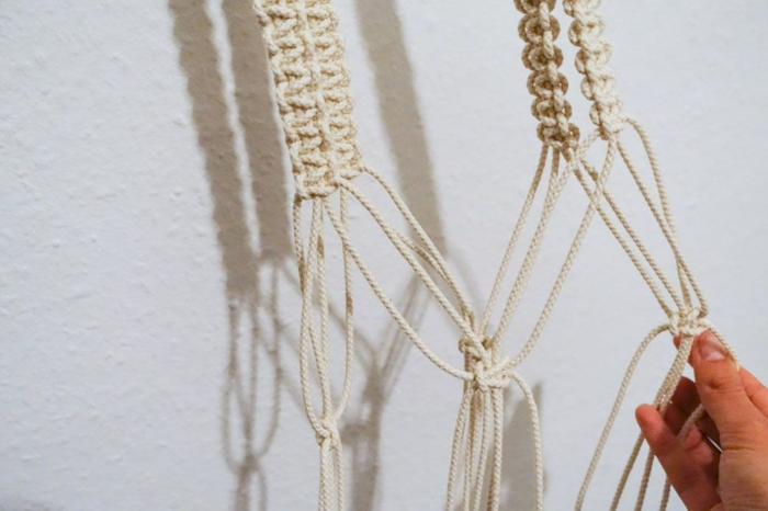 two different macrame knots, macrame plant hanger diy, step by step diy tutorial, white background