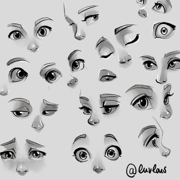 different types of cartoon eyes, cartoon eyes drawing, black pencil sketches on white background