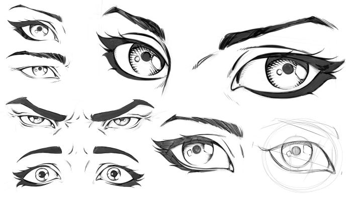 black marker sketches on white background, sets of eyes with different expressions, how to draw eyes step by step