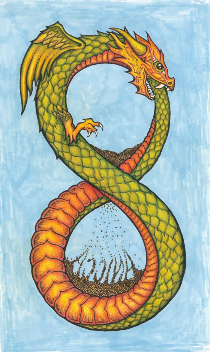 colored drawing of a dragon as an infinity symbol, sand clock, ouroboros tattoo, blue background
