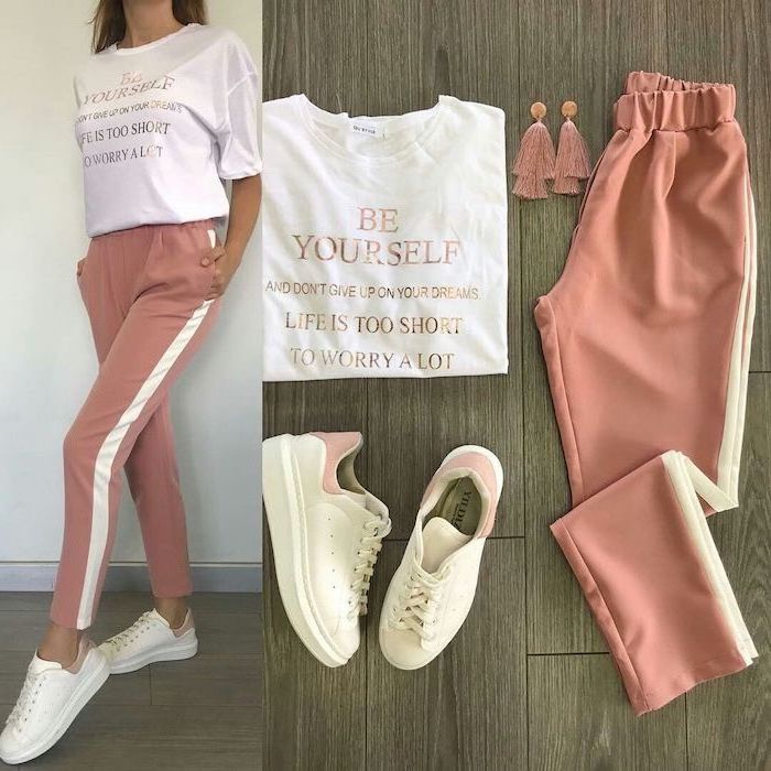 blush pink trousers, white t shirt and sneakers, cute comfy outfits, laid out on wooden surface