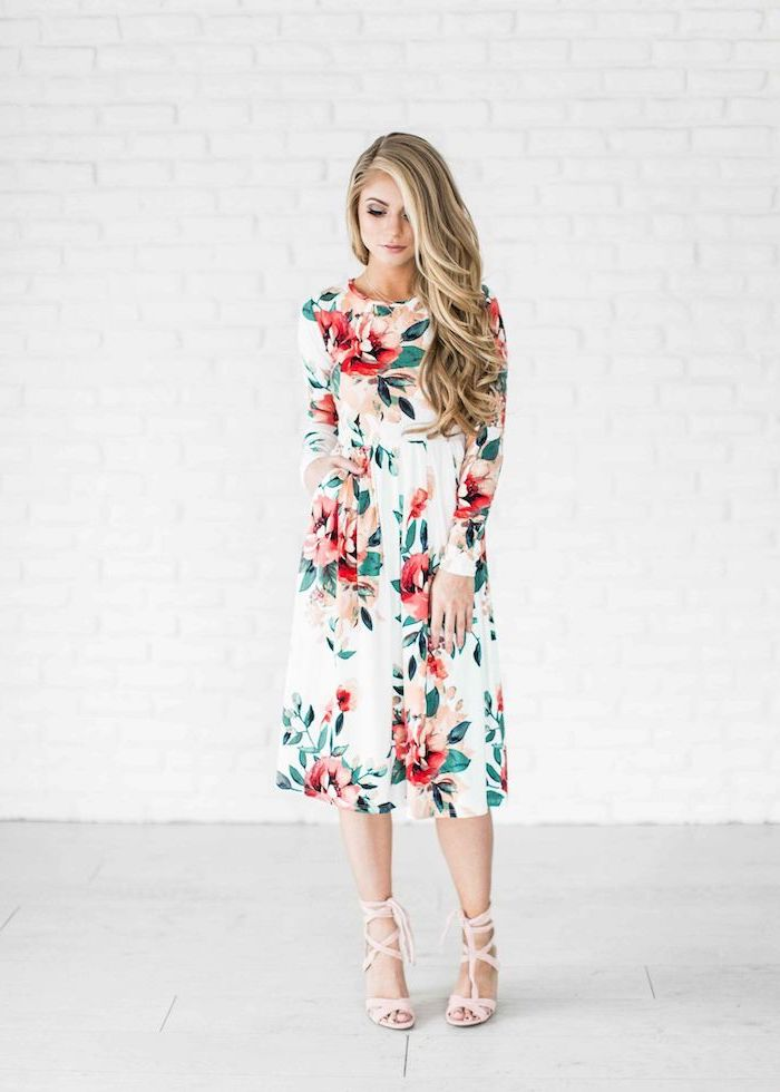 easter outfits women, woman with long blonde wavy hair, wearing white dress with floral print, nude heels