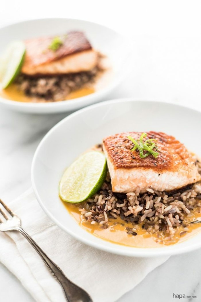 smoked salmon, brown rice on white plate, easy dinner recipes for two, lime slice on the side