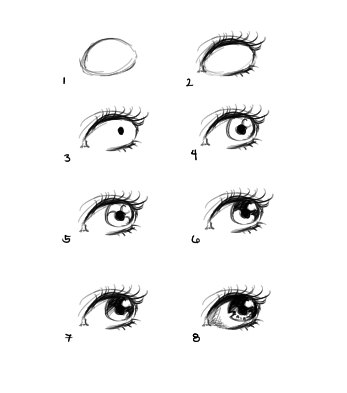 black pencil sketch on white background, how to draw eyes step by step, step by step diy tutorial in eight steps