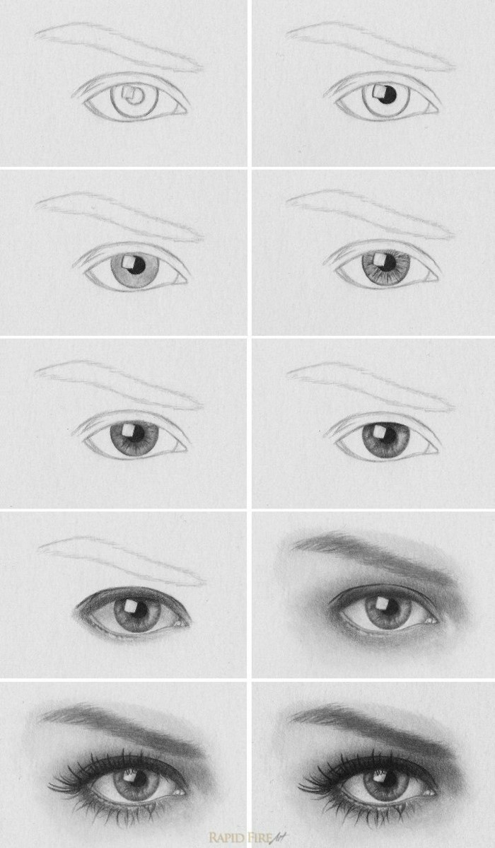 black pencil sketch on white background, eye drawing easy, step by step diy tutorial in ten steps