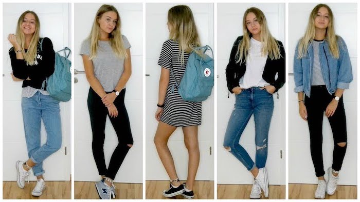 five side by side photos, cute comfy outfits, five different outfits, worn by the same girl