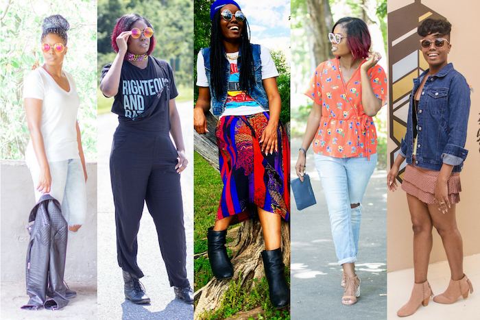 cute comfy outfits, five side by side photos, five different outfits, worn by the same woman