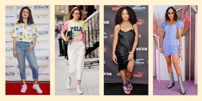 selena gomez, gigi hadidi, four side by side photos, cute comfy outfits, four different outfits, worn by different women