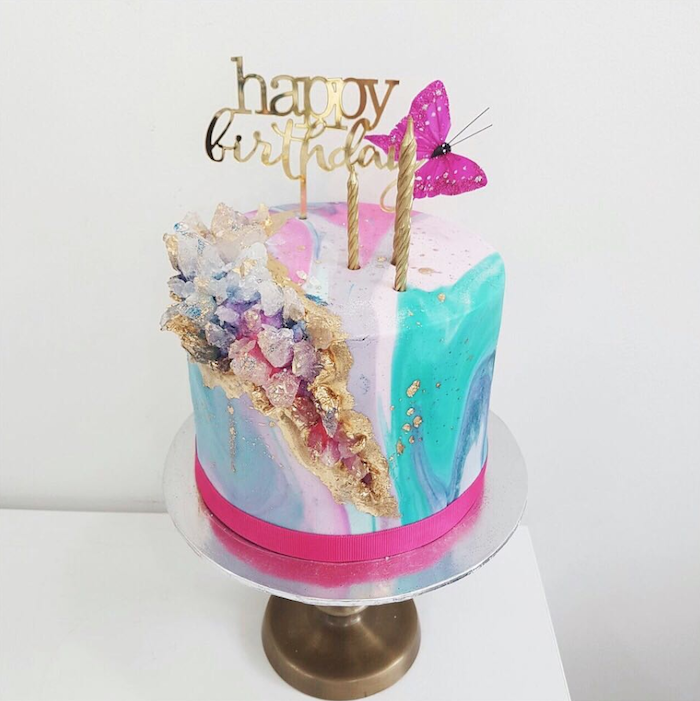happy birthday cake topper, rock candy cake, one tier cake, covered with colorful fondant, decorated with colorful rock candy