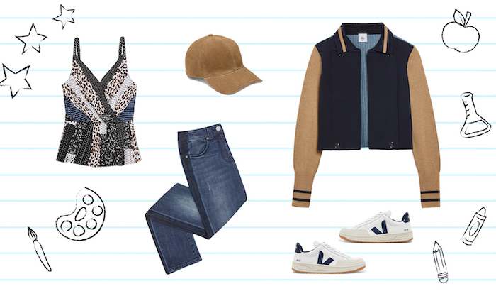 brown and navy blue bomber jacket, middle school outfits, jeans and leopard print top, white sneakers