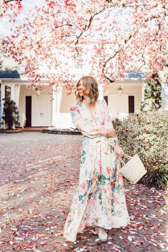 woman with short blonde hair, wearing a long dress with floral print, easter dresses 2019, white sandals