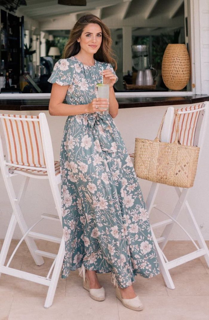 woman with long brown hair, wearing a long dress with floral print, easter dresses 2019, white sandals