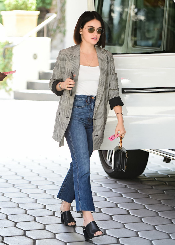 lucy hale walking on a sidewalk, cute outfits with leggings, wearing jeans and white top, grey long blazer