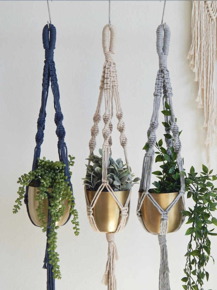 macrame in black white and grey, 5 minute macrame plant hanger, plants hanging from the ceiling