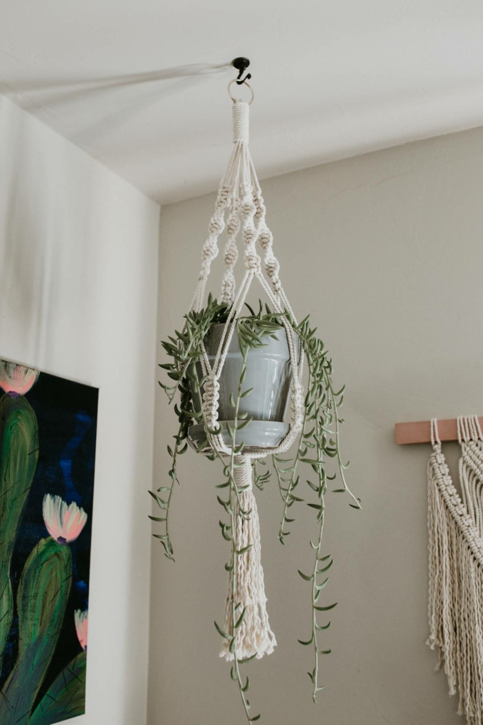 plant in grey ceramic pot, hanging from the ceiling, 5 minute macrame plant hanger, white wall background